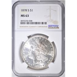 1878-S MORGAN DOLLAR  NGC MS-63
