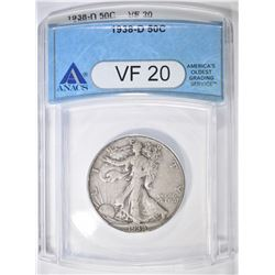 1938-D WALKING LIBERTY HALF DOLLAR  ANACS VF-20