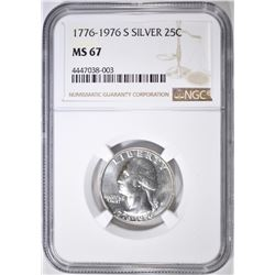 1776-1976-S SILVER WASHINGTON QUARTER NGC MS-67