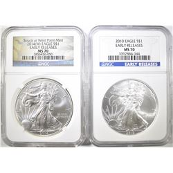 2 NGC MS-70 EARLY RELEASES AMERICAN SILVER EAGLES: