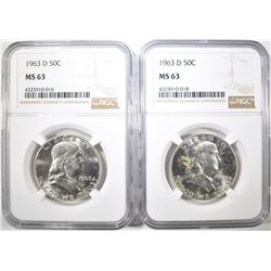2 1963-D FRANKLIN HALF DOLLARS NGC MS-63