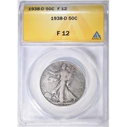 1938-D WALKING LIBERTY HALF DOLLAR  ANACS F-12
