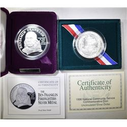 LOT OF 2 SILVER COINS WITH COA: