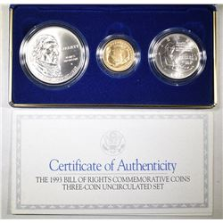 1993 BILL OF RIGHTS COMMEMORATIVE 3-COIN UNC SET