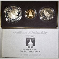 1989 US CONGRESS 3-PIECE PROOF COIN SET: