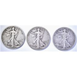 3-1933-S WALKING LIBERTY HALF DOLLARS, FINE+