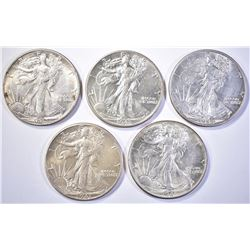 (5) WALKING LIBERTY HALF DOLLARS  (2) 1941,