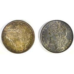 1886 & 1889 TONED CH BU MORGAN DOLLARS