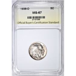 1938-D BUFFALO NICKEL, OBCS SUPERB GEM BU