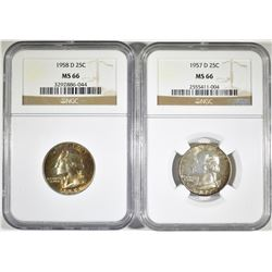 1957-D & 58-D WASHINGTON QUARTERS, NGC MS-66 COLOR