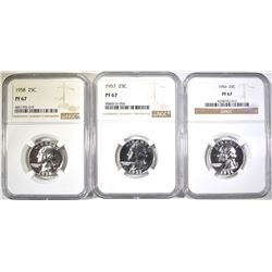 1956, 57 & 58 WASHINGTON QUARTERS  NGC PF-67