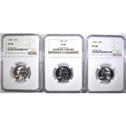 1957, 58, 59 WASHINGTON QUARTERS NGC PF-68