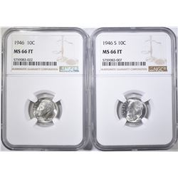 1946 & 46-S ROOSEVELT DIMES, NGC MS-66 FT