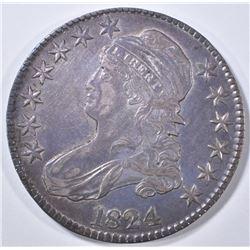 1824 BUST HALF DOLLAR   AU