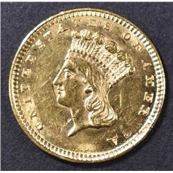 1857 $1 GOLD INDIAN PRINCESS  CH BU