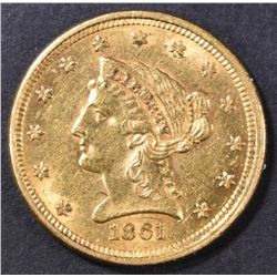 1861 $2.5 GOLD LIBERTY  AU/BU