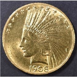 1908 $10 INDIAN W/MOTTO  CH BU