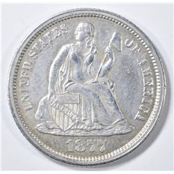 1877-CC SEATED LIBERTY DIME  AU/BU