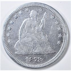 1872 SEATED LIBERTY QUARTER  FINE