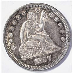 1857 SEATED LIBERTY QUARTER  CH BU  NICE!!