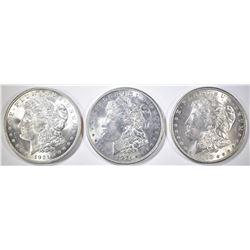 1898-O & 2 1921 MORGAN DOLLARS CH BU