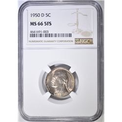 1950 D JEFFERSON NICKEL NGC MS-66 5FS