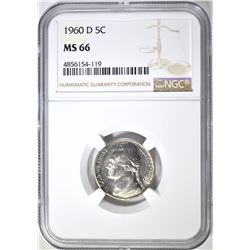 1960-D JEFFERSON NICKEL,  NGC MS-66