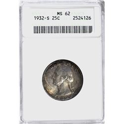 1932-S WASHINGTON QUARTER, ANACS MS-62 TONING