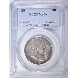 1958 FRANKLIN HALF DOLLAR PCGS MS-66 COLOR