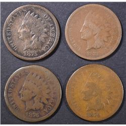 1873, 74, 75, 76 INDIAN CENTS GOOD