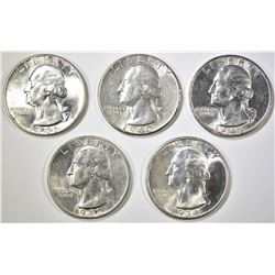 5 WASHINGTON QUARTERS MOSTLY BU SOME AU/BU
