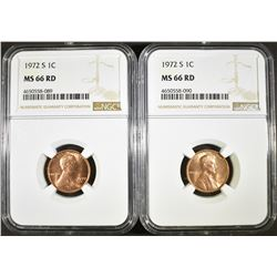 2 - 1972-S LINCOLN CENTS NGC MS66 RD