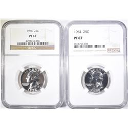 1956 & 64 WASHINGTON QUARTERS NGC PF-67