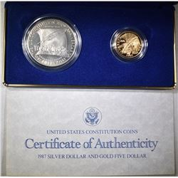 1987 US CONSTITUTION 2-COIN PROOF SET