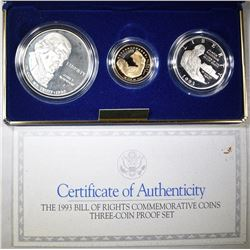 1993 BILL OF RIGHTS COMMEMORATIVE 3-COIN PROOF SET