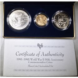 1993 WORLD WAR II 50TH ANNIV 3-COIN UNC SET