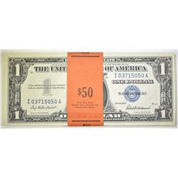 50 1957 CONSECUTIVE NUMBERED SILVER CERTIFICATES