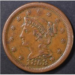 1853 LARGE CENT  XF