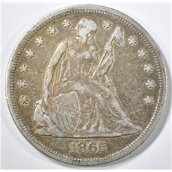 1865 SEATED LIBERTY DOLLAR  VF/XF