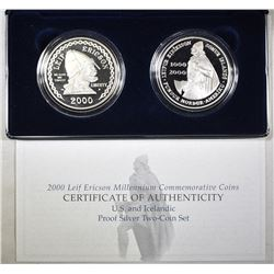 2000 LEIF ERICSON 2-COIN PROOF SET ORIG PACKAGING