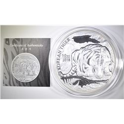 2018 10 OUNCE .999 SILVER KOREAN TIGER WITH CERT