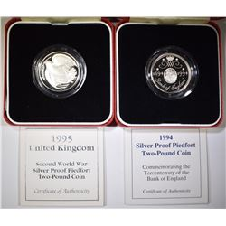 2-STERLING SILVER BANK OF ENGLAND COINS