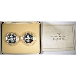 1989 2-POUND PROOF PIEDFORT 2-COIN SET