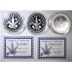 3-ONE OUNCE .999 SILVER LEGALIZE ROUNDS