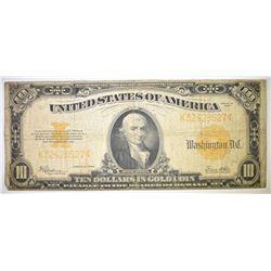 1922 $10.00 GOLD CERTIFICATE, G/VG