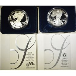 2004 & 08 PROOF AMERICAN SILVER EAGLES