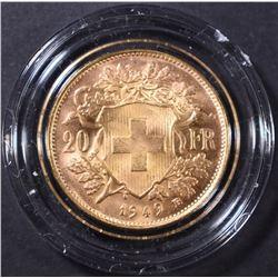 1949 SWISS 20 FRANC GOLD