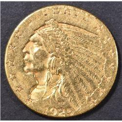 1925-D $2.50 GOLD INDIAN, AU/BU