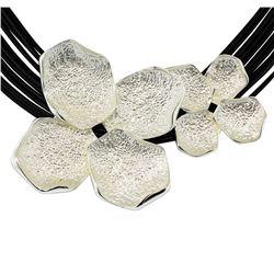 Petal Twin Pendant Multi Strand Necklace - Rhodium Plated