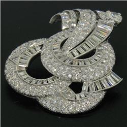 Platinum 15.52 ctw Diamond Covered Large Open Swirl Slide Pendant